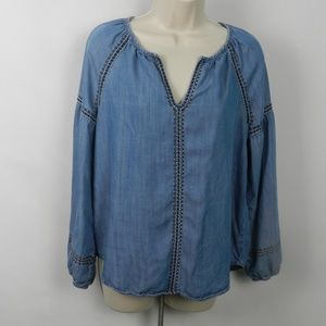 GAP Embroidered Denim Peasant Blouse S hb